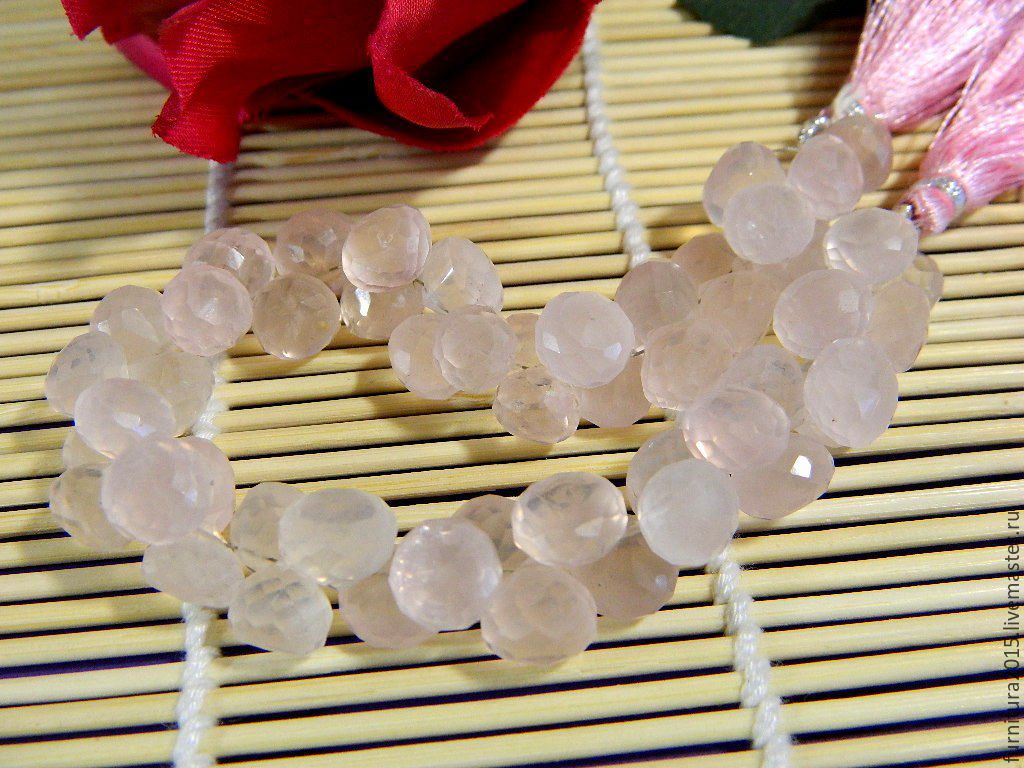 Rose Quartz micro faceted onion, 8 x 9 mm, Beads1, Saratov,  Фото №1