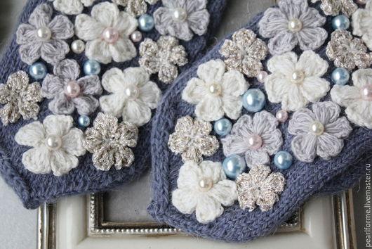 Варежки, митенки, перчатки ручной работы. Ярмарка Мастеров - ручная работа. Купить Красивые варежки Снежный ангел. Handmade. Синий