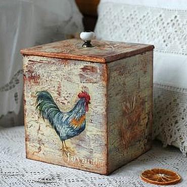 Для дома и интерьера ручной работы. Ярмарка Мастеров - ручная работа Банка короб Петухи. Handmade.