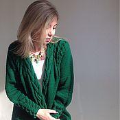 """Одежда ручной работы. Ярмарка Мастеров - ручная работа Кардиган вязаный """"Зеленая река"""" из итальянского мериноса. Handmade."""