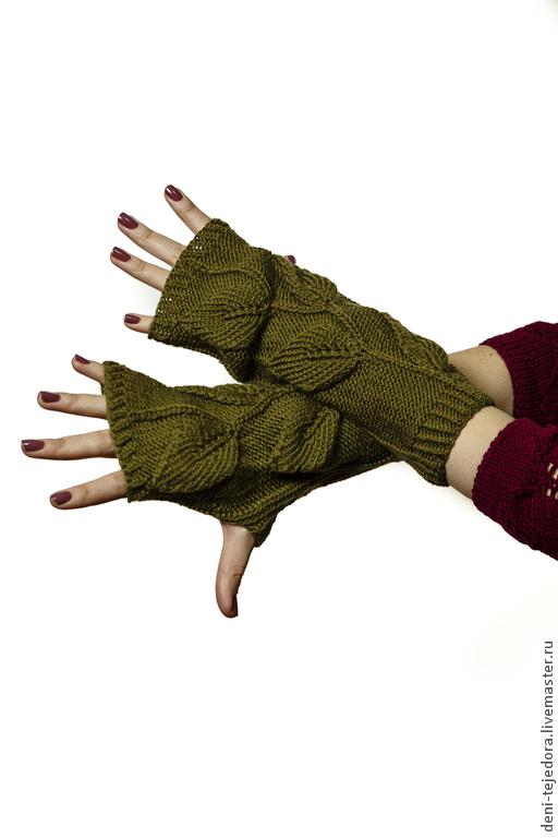 Варежки, митенки, перчатки ручной работы. Ярмарка Мастеров - ручная работа. Купить Митенки с листочками. Handmade. Зеленый, митенки вязаные