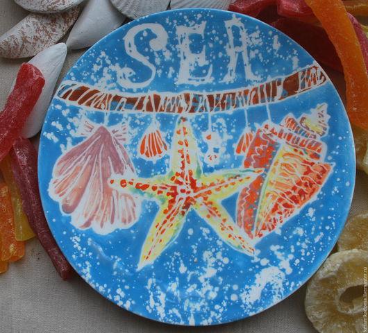 """Тарелки ручной работы. Ярмарка Мастеров - ручная работа. Купить Тарелка """"Море"""". Handmade. Подарок ребенку, Тарелка декоративная"""
