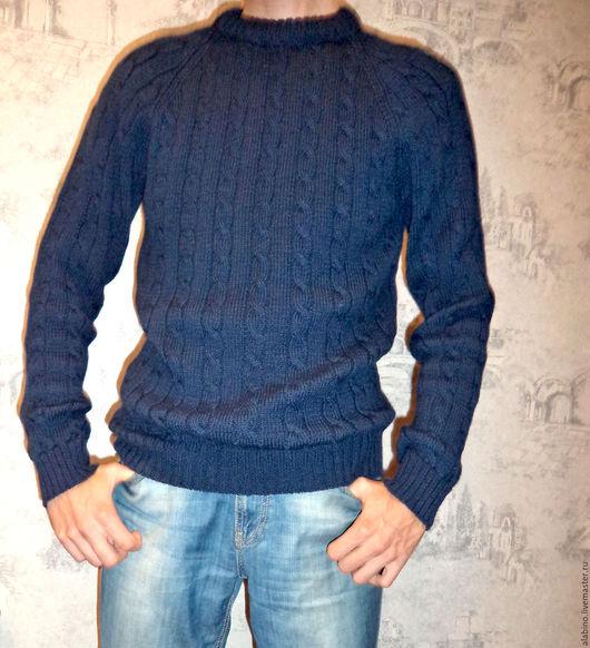 Для мужчин, ручной работы. Ярмарка Мастеров - ручная работа. Купить Пуловер мужской темно-синий, косы и жгуты. Handmade.