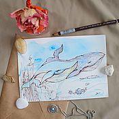Картины и панно handmade. Livemaster - original item Funny whales. Handmade.