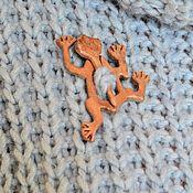 Украшения handmade. Livemaster - original item Brooch-fibula made of wood Frog. Handmade.