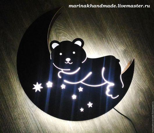 Освещение ручной работы. Ярмарка Мастеров - ручная работа. Купить Светильник-ночник. Handmade. Коричневый, золотой, луна, ночник