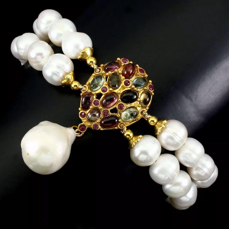 Pearl bracelet with tourmalines, Bead bracelet, Moscow,  Фото №1