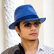 Аксессуары handmade. Livemaster - original item Straw hat Fedora Unisex. Color blue. Handmade.