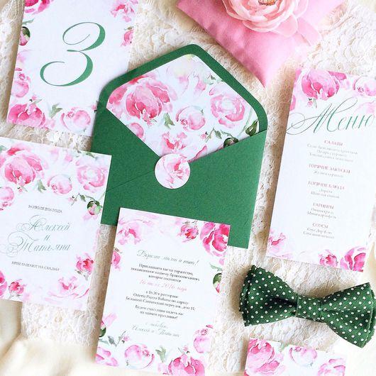 Свадебные аксессуары ручной работы. Ярмарка Мастеров - ручная работа. Купить Акварельные цветочные свадебные розовые приглашения Розы. Handmade.