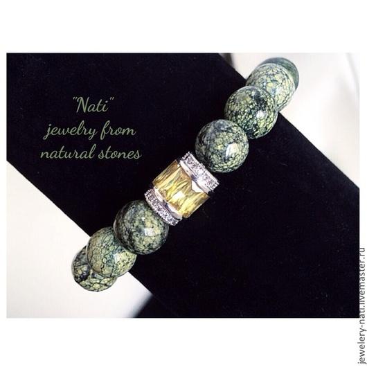 """Браслеты ручной работы. Ярмарка Мастеров - ручная работа. Купить Браслет из натурального камня """"Dragon"""". Handmade. Зеленый, браслет с подвесками"""