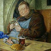 Картины ручной работы. Ярмарка Мастеров - ручная работа Картины: Сидящий монах за столом. Эдуард фон Грютцнер (копия 50/50). Handmade.