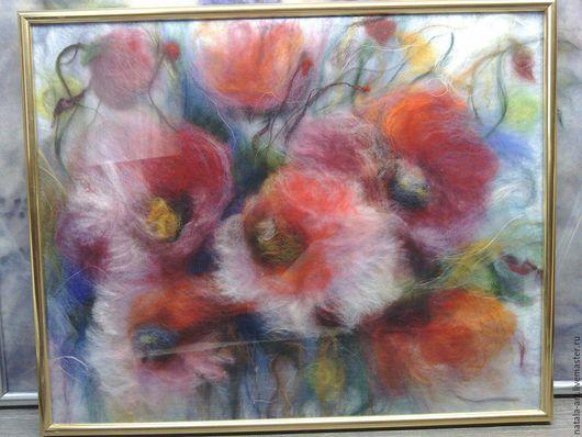 Картины цветов ручной работы. Ярмарка Мастеров - ручная работа. Купить Маки-4. Handmade. Комбинированный, шерстяная акварель, цветы