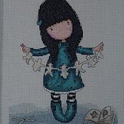 """Картины и панно ручной работы. Ярмарка Мастеров - ручная работа Картина (вышитая крестиком) """"Девочка с гирляндой"""". Handmade."""