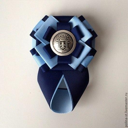 """Броши ручной работы. Ярмарка Мастеров - ручная работа. Купить Брошь-орден с галстучком """"Синяя лилия"""". Handmade. Тёмно-синий"""