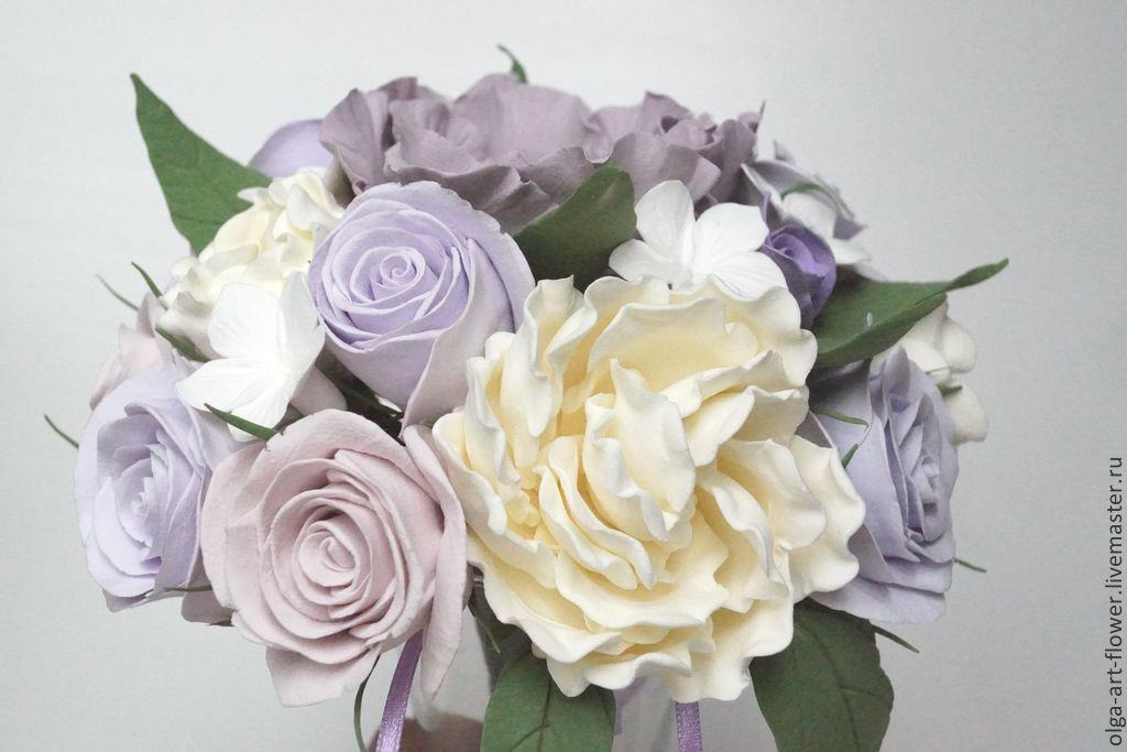 Wedding bouquet Tenderness. Flowers polymer clay handmade, Bouquets, Moscow,  Фото №1