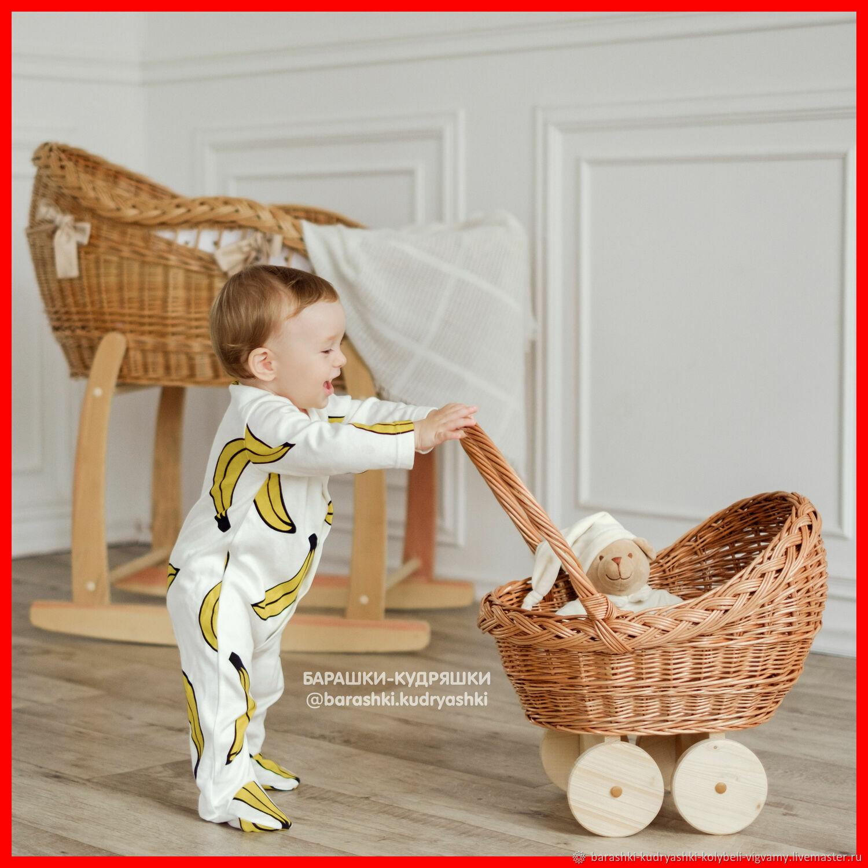 Коляска люлька колыбель для куклы игрушек цветов плетеная, Мебель для кукол, Тамбов,  Фото №1