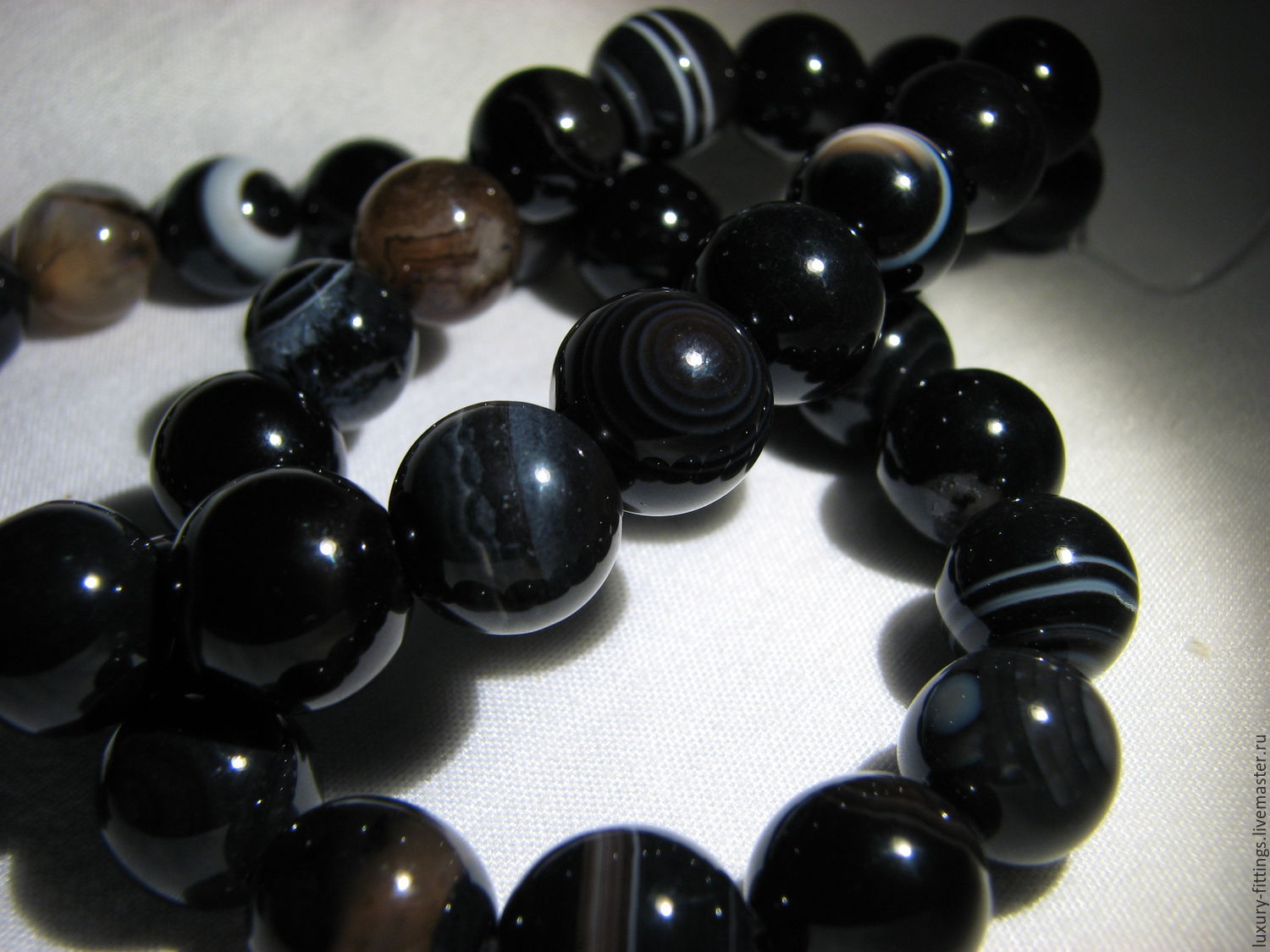Natural black agate, Beads1, Moscow,  Фото №1