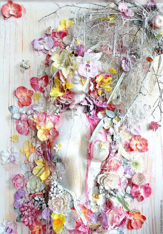 Купить картину, картина, 3Д коллаж, весна, цветы, ассамбляж, объемная картина, купить красивую картину, картина символизм, фэнтези