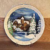 Подарки к праздникам ручной работы. Ярмарка Мастеров - ручная работа Тарелка Зимний лес. Handmade.