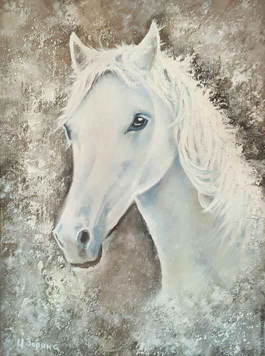 Животные ручной работы. Ярмарка Мастеров - ручная работа. Купить Белая лошадь. Картина маслом.. Handmade. Лошадь, картина в подарок