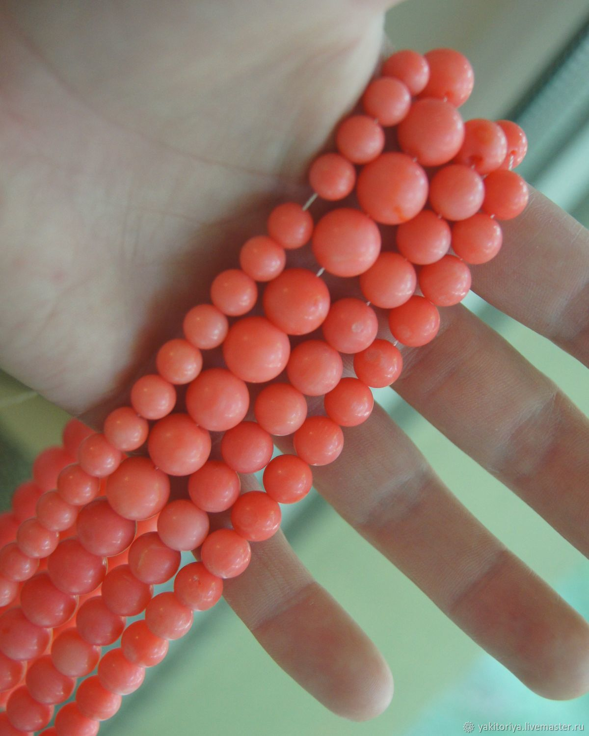 Coral natural pink beads ball 10, 9 and 8 mm, Beads1, Moscow,  Фото №1