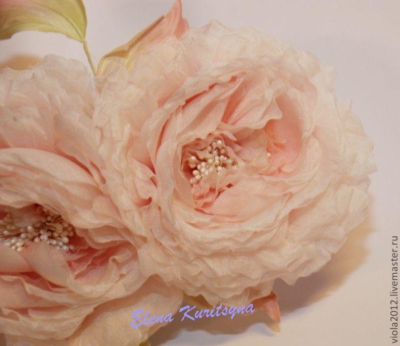 Silk flowers. Flower-rose brooch 'Zefir', Flowers, St. Petersburg,  Фото №1