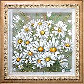 Картины и панно ручной работы. Ярмарка Мастеров - ручная работа Белые Ромашки-трехслойная картина на шелке. Handmade.