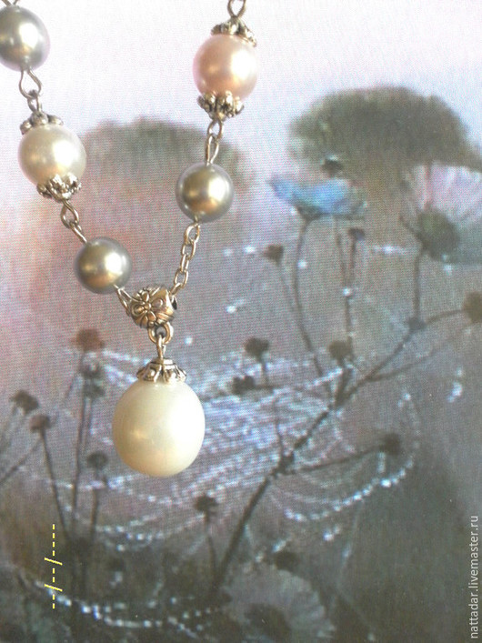 Колье, бусы ручной работы. Ярмарка Мастеров - ручная работа. Купить Ожерелье Жемчужный дождь. Handmade. Серебряный, серый