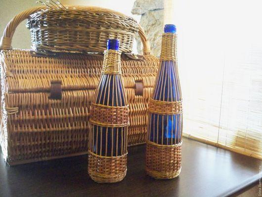 Винтажная посуда. Ярмарка Мастеров - ручная работа. Купить Бутылки в оплетке из натуральной лозы.. Handmade. Тёмно-синий, стекло цветное