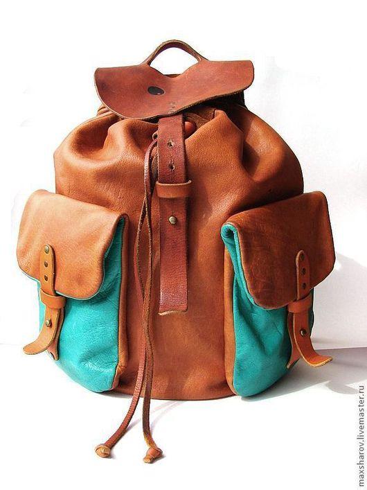 """Рюкзаки ручной работы. Ярмарка Мастеров - ручная работа. Купить Кожаный рюкзак ручной работы, рыжий № 79 """"dominicana"""". Handmade."""