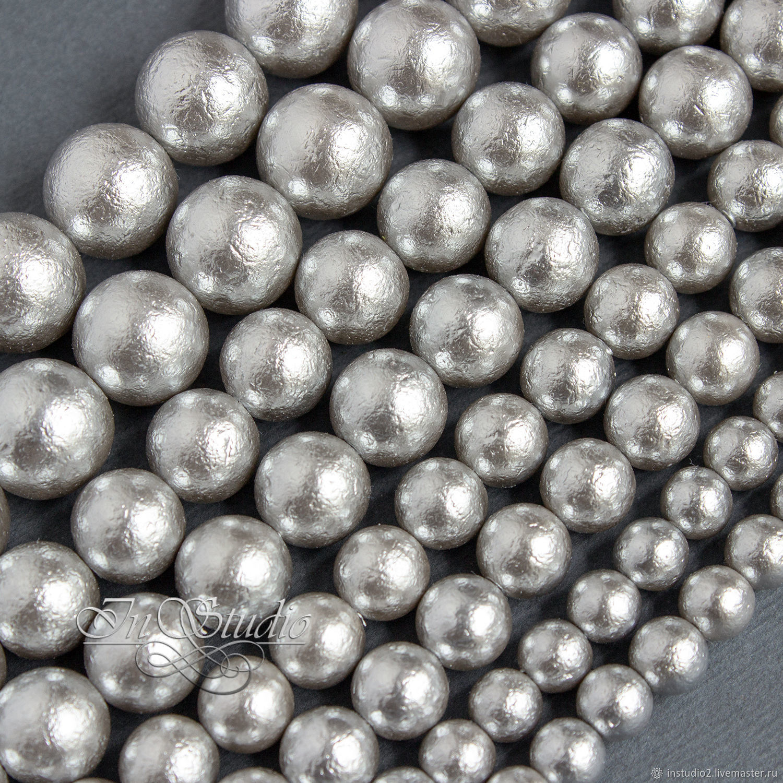 Жемчуг Майорка  фактурное Серебро 8 10 мм серебристо серый, Бусины, Москва,  Фото №1