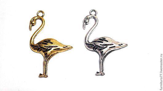 Для украшений ручной работы. Ярмарка Мастеров - ручная работа. Купить Подвеска фламинго ( серебро, золото). Handmade. Фламинго