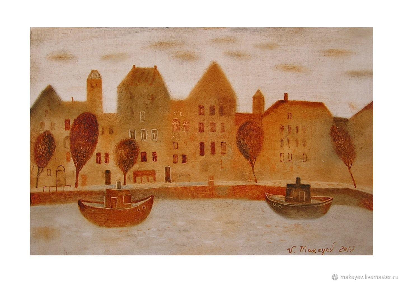 Люди, ручной работы. Ярмарка Мастеров - ручная работа. Купить Оранжевый город. Handmade. Город, картина, оранжевый, пейзаж, подарок