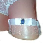 Свадебный салон ручной работы. Ярмарка Мастеров - ручная работа Подвязка невесты голубым кристалом. Handmade.