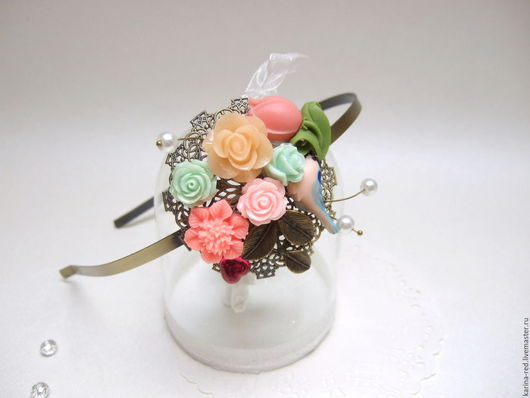 купить ободок ручной работы с цветами ободок для невесты ободок свадебный ободок в прическу невесты купить обруч для волос нежный розы и птичка бохо аксессуары для волос мятный розовый оранжевый