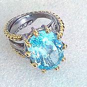 Украшения ручной работы. Ярмарка Мастеров - ручная работа Крупный голубой топаз в цветной оправе. Handmade.