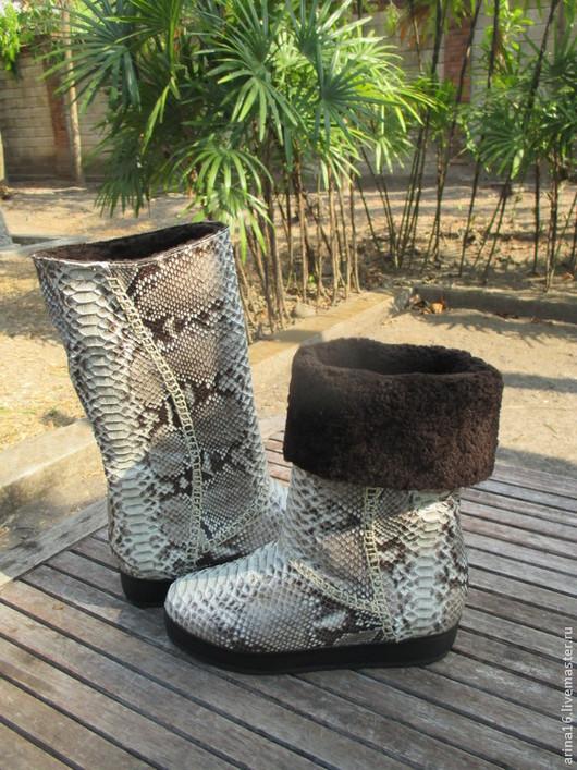Обувь ручной работы. Ярмарка Мастеров - ручная работа. Купить Угги. Handmade. Серый, угги ручной работы, кожа питона