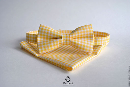 Галстуки, бабочки ручной работы. Ярмарка Мастеров - ручная работа. Купить Бабочка + платок Прованс желтый в клетку/ галстук бабочка, платок паше. Handmade.