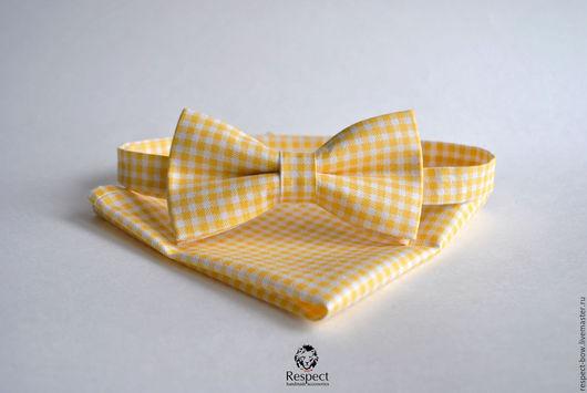 Галстуки, бабочки ручной работы. Ярмарка Мастеров - ручная работа. Купить Желтая галстук бабочка в клетку + платок купить, желтая свадьба. Handmade.