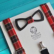 Аксессуары handmade. Livemaster - original item Wooden tie braces red Tartan gingham. Handmade.