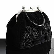 Сумки и аксессуары handmade. Livemaster - original item Bag made of natural velvet, cloth, brush, black. Handmade.