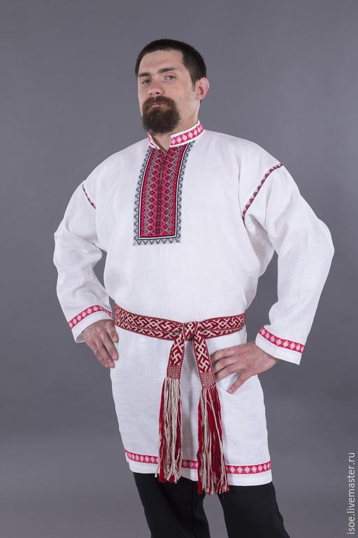 Одежда ручной работы. Ярмарка Мастеров - ручная работа. Купить Рубаха славянская  праздничная мужская (белый лен). Handmade. Белый