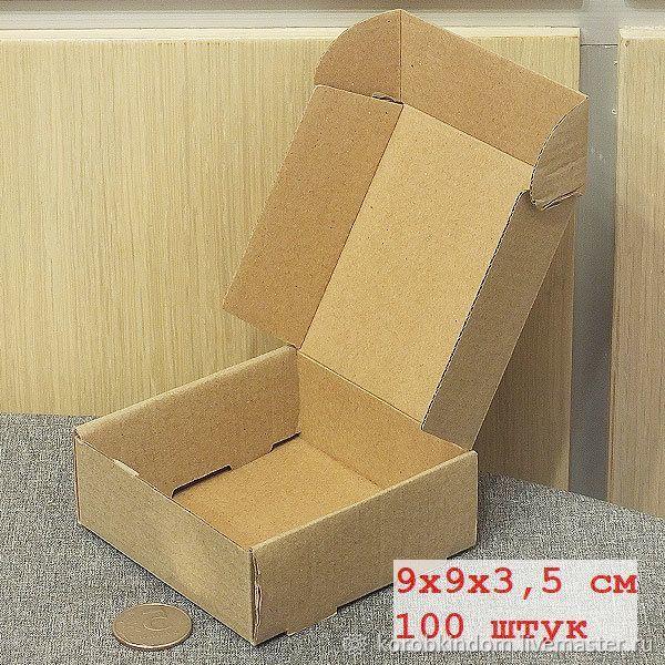 9х9х3,5 - 100 коробок из микрогофрокартона коричневого откидной крыш, Упаковка, Санкт-Петербург, Фото №1