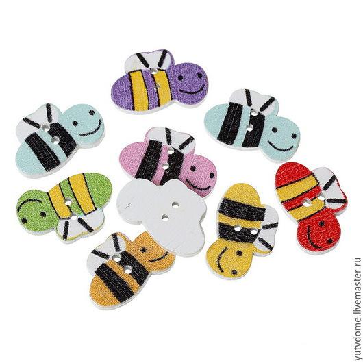 """Шитье ручной работы. Ярмарка Мастеров - ручная работа. Купить 0451 Пуговицы деревянные """"Пчелы"""". Handmade. Дерево, пуговицы, пуговица"""