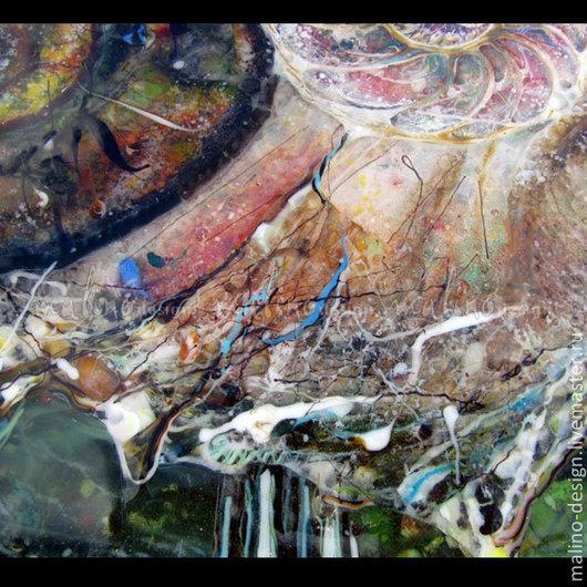 Столик. Авторская ручная работа. Цветное стекло-фьюзинг. Фрагмент.  ArtStudio Malino-design.