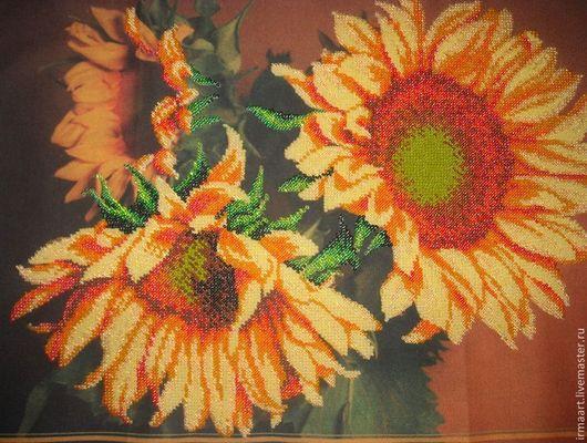 """Картины цветов ручной работы. Ярмарка Мастеров - ручная работа. Купить Картина из бисера """"Подсолнухи"""". Handmade. Оранжевый, картина в подарок"""
