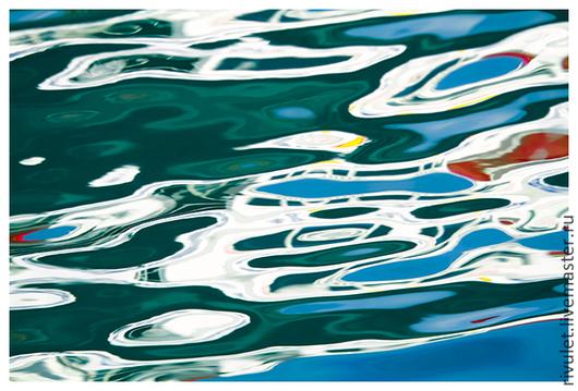 Море абстрактная фото картина для современного интерьера в ярких бирюзовых, белых и голубых цветах «Море любит паруса. Этюд IV» арт постер из серии «Море любит паруса. Этюды» © Ануфриева Елена.