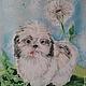 Картина `Одуванчик`, 30-40 см., натуральный шёлк, холодный батик с добавлением объемного контура.