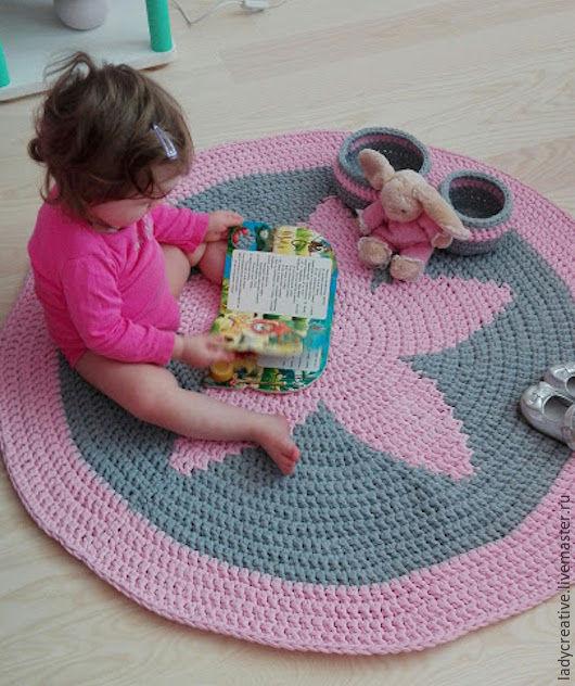 Текстиль, ковры ручной работы. Ярмарка Мастеров - ручная работа. Купить Коврик из трикотажной пряжи. Handmade. Розовый, коврик