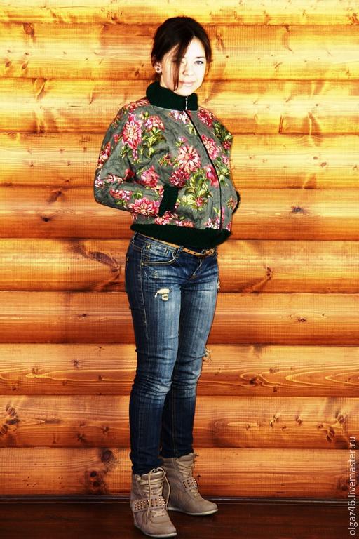 """Верхняя одежда ручной работы. Ярмарка Мастеров - ручная работа. Купить Бомбер из стеганой ткани """"Спортивная романтика"""". Handmade. Разноцветный"""